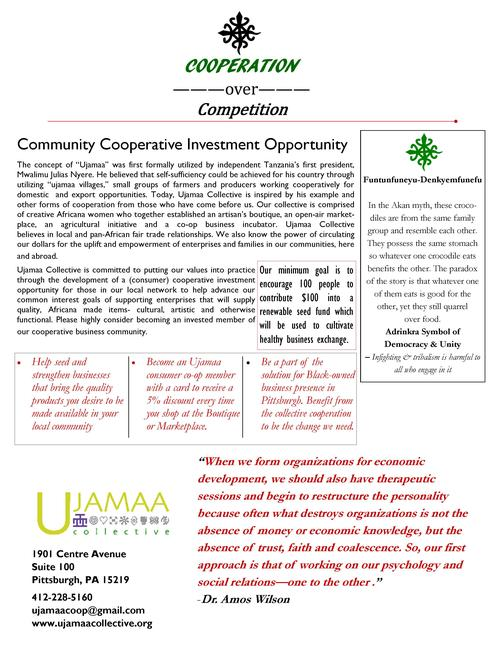 Become a Consumer Member of Ujamaa Collective